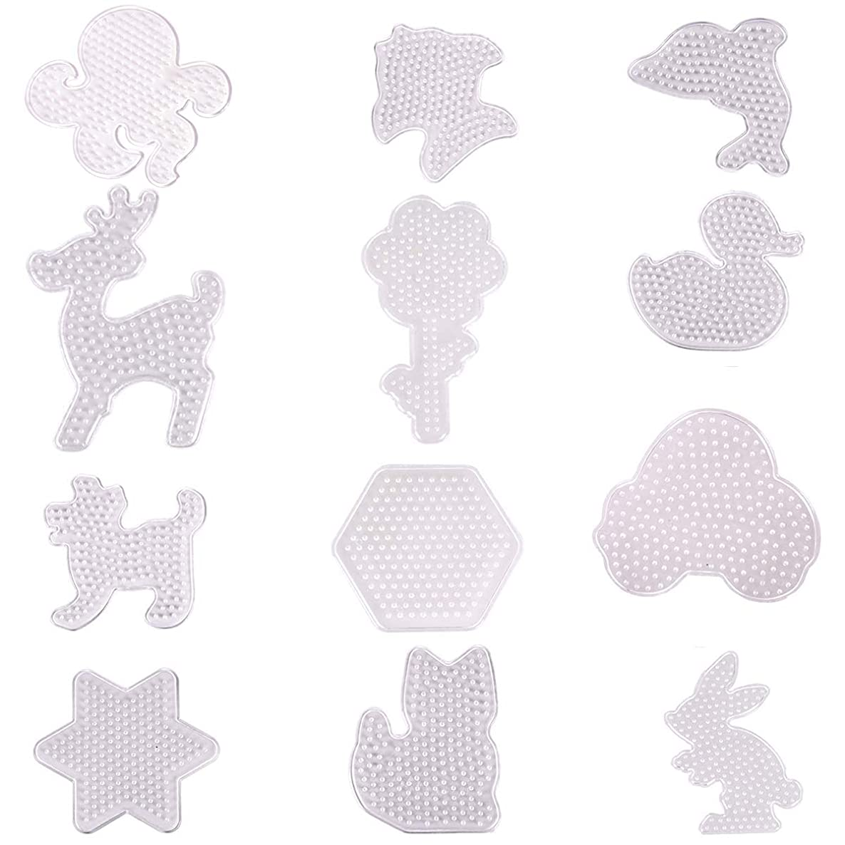 Hapy Shop Fuse Beads Pegboards 12 Pack 5 mm Clear Plastic Cute Animal Shape Template Beads Boards for Kids Craft Beads