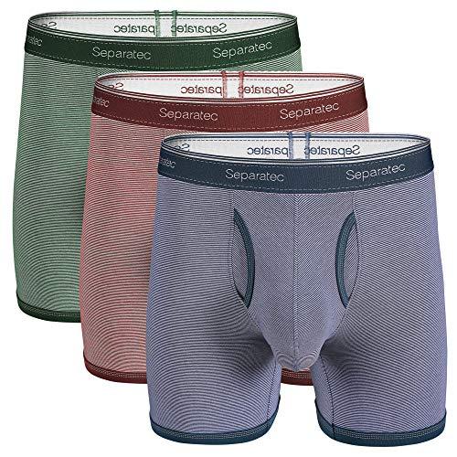 Separatec Herren Boxershorts Weiche gekämmte Baumwolle mit separaten Beuteln Unterwäsche Boxer-Shorts, 3er Pack, Maroon+ Olive Green+ Navy Blue, M