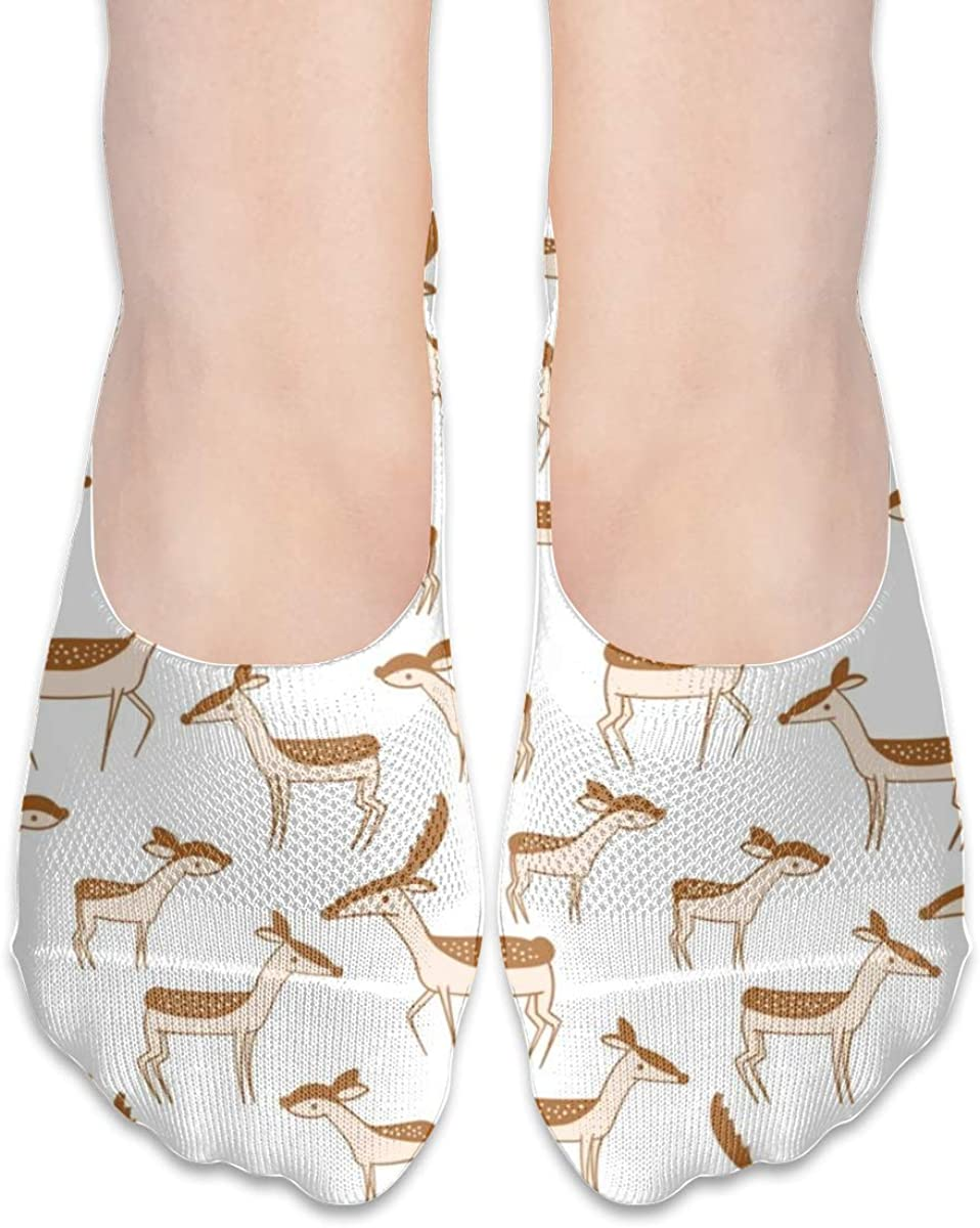 Personalized No Show Socks With Abstract Animal Gazelle Print For Women Men