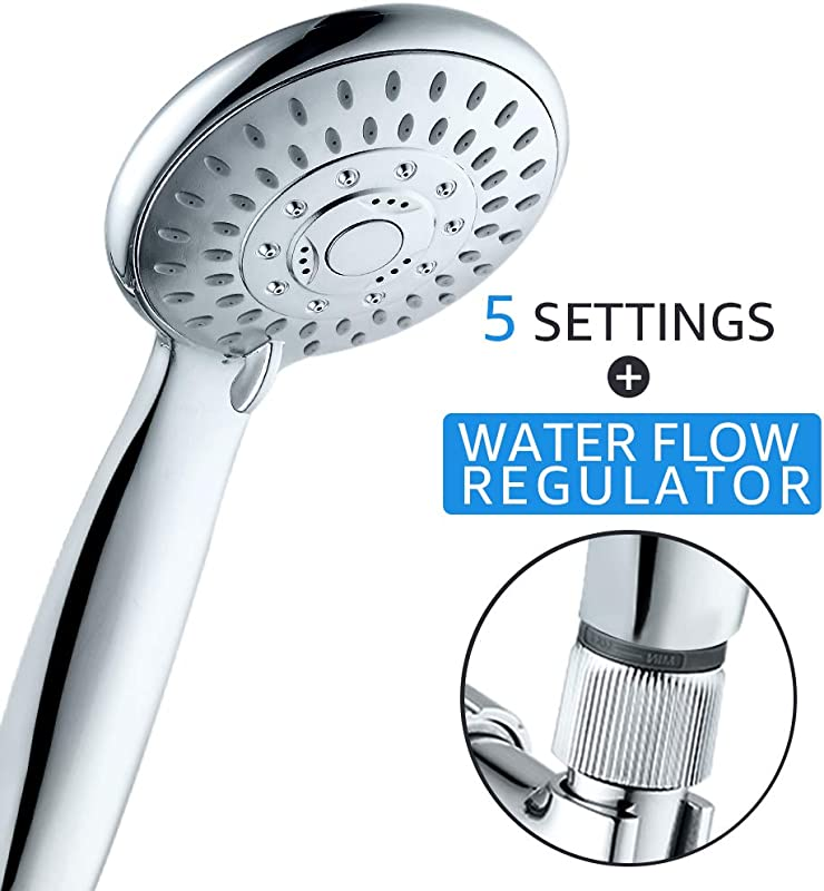 High Pressure Faucet 5 Settings Handheld Shower Head With Flow Regulator Easy To Control Water Pressure And Water Flow Shower Systems Shower Head With Hose And Holder Fog Surface Design