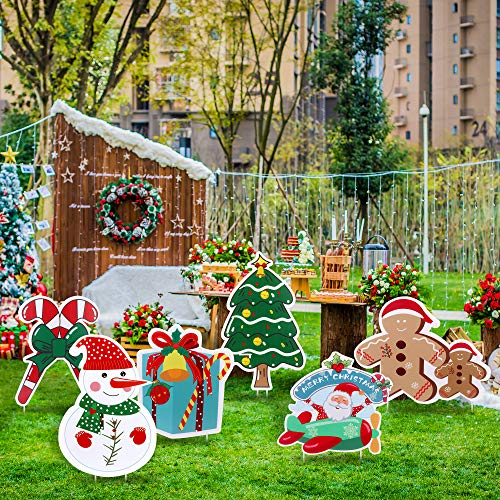FiGoal 6 Pack Christmas Yard Signs Snowman Gingerbread Man Christmas Corrugated Yard Stake Signs Outdoor Props Decorations with Stakes for Holiday Yard/Lawn/Garden/Patio Decorations