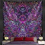 QAWD Tapiz de Mandala Tapiz de brujería Estilo Bohemio Hippie psicodélico Escena Fondo Tela Manta Tela Colgante A2 73x95cm