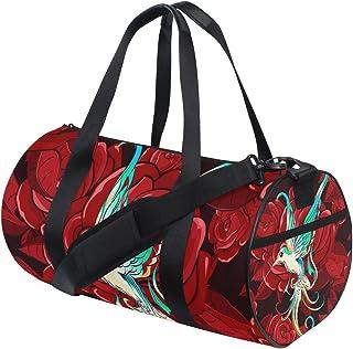 Ahomy Schultertasche, Kolibri, rote Rose, leicht, Segeltuch, Reisetasche