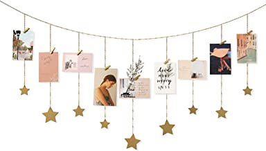 Mkono Hanging Photo Display Wood Stars Garland with Chains Picture Frame Collage with 30 Wood Clips Wall Art Decoration for Home Office Nursery Room Dorm Christmas Card Display,Gold