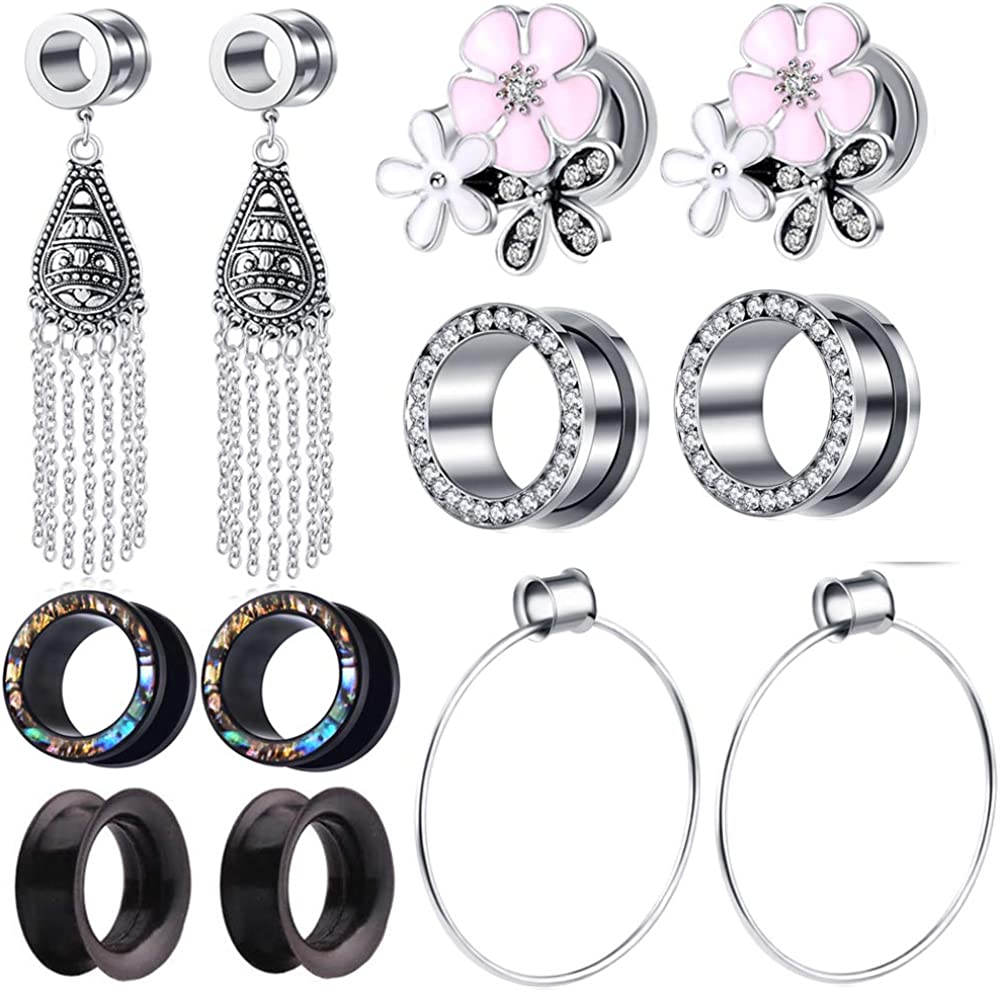 TIANCI FBYJS 6 Seattle Mall Pairs Stainless Steel Cash special price fo Dangle Tunnels Plugs Ear
