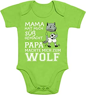 Shirtgeil Mama machte Mich süß Papa machte Mich zum Wolf Baby Body Kurzarm-Body