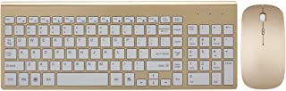 Wireless Keyboard and Mouse Combo, Hi-azul Full-sized 2.4GHz Wireless Keyboard with 102 Keys and Power-saving Mouse for Home and Office Use (Gold)