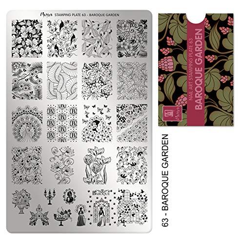 Moyra Laca De Uñas Moyra Placa Para Stamping Nº 63 - Baroque Garden (Tamaño 14,5 Cms X 9,5 Cms) - 1 unidad