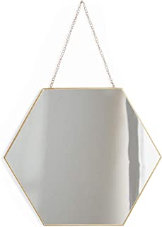 Beautify Small Hexagon Wall Mirror Decorative Vanity Mirror with Hanging Chain and Brass Finish for Living Room, Bedroom, Bathroom and Dining Room 12-Inch