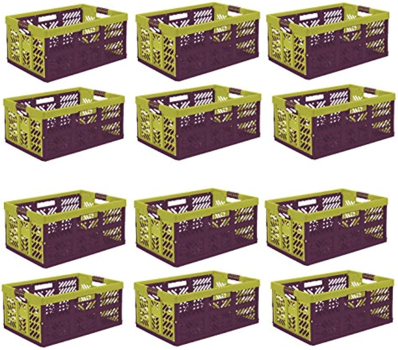 Unbekannt 12 x Profi Klappbox mit softgriffen Tropical 45 L bis 50 kg Faltbox Kiste Transportkiste Einkaufskorb Box
