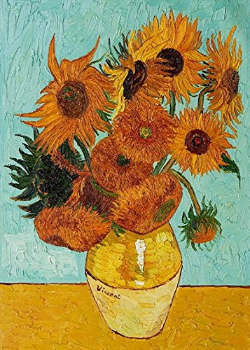 Wieco Art Sunflower by Vincent Van Gogh Oil Paintings Reproduction Modern Floral Giclee Canvas