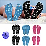 Beach Foot Pads Barefoot Adhesive Invisible Shoes Stick on Foot Pad Stickers Stick on Soles Anti-Slip Waterproof Silicone Unisex Footing Pad For Surfing Swimming 6 Pack Black Blue Rose 9.5-12 Size