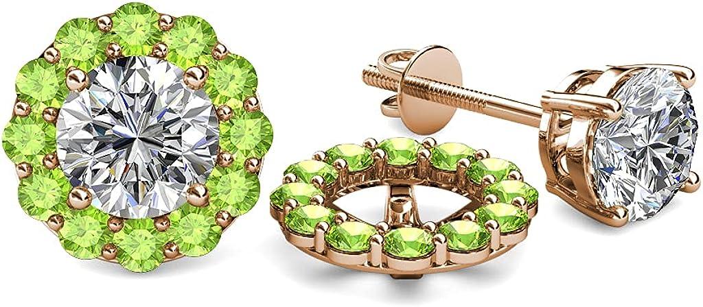 TriJewels Peridot Halo Jacket for Stud Earrings 0.65 ct tw in 14K Rose Gold