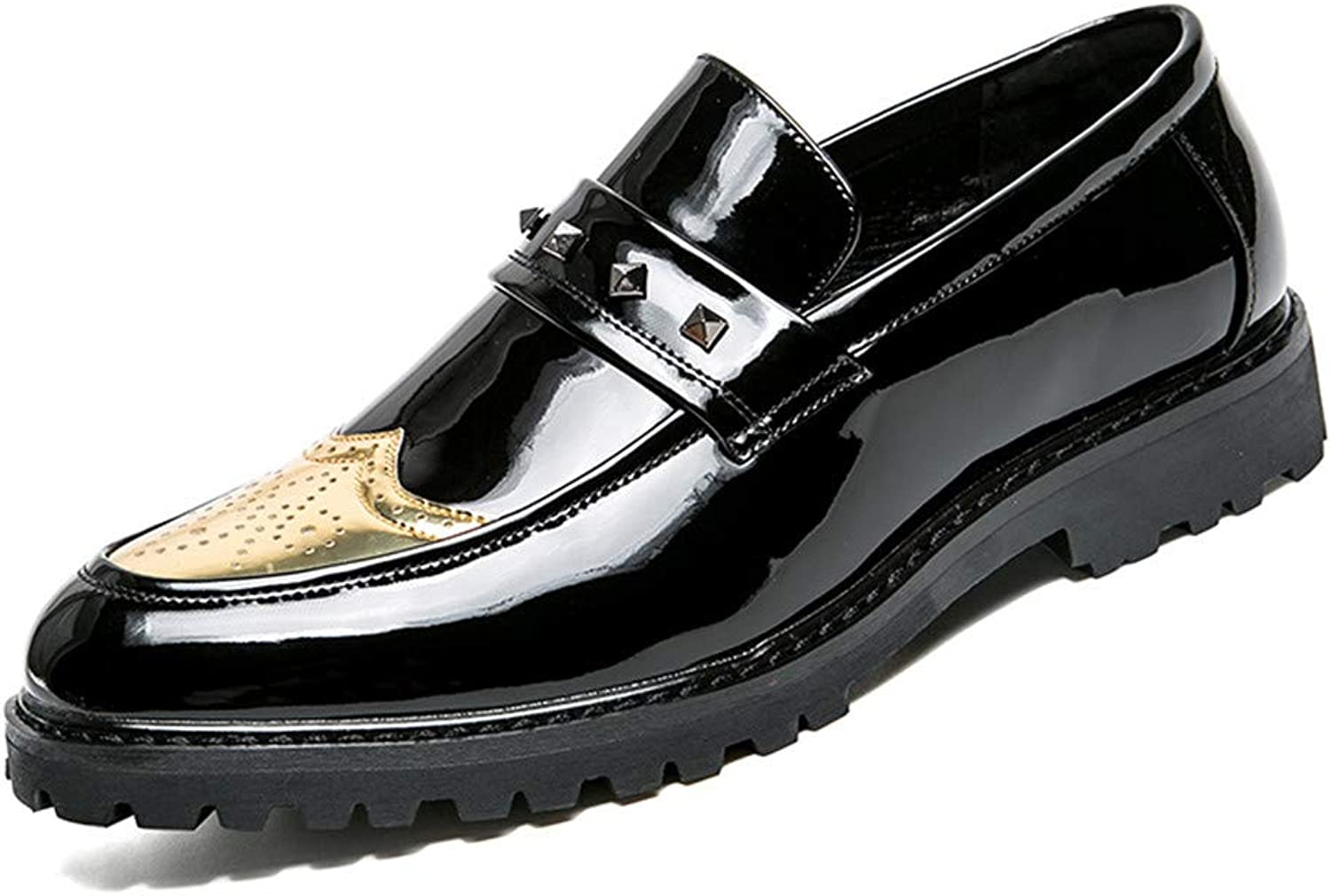 JIALUN-shoes Men's Personality Business Oxford Fashion Rivet with Thick Riveted Anti-Skid Patent Leather Brogue shoes