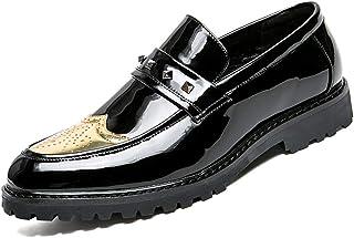 Calzado de ala de negocios casual Calzado de negocios para hombres Calzado de Oxford respiraderos confortables personalidad de la moda remaches gruesos antideslizantes de charol BRogue zapatos Wingtip