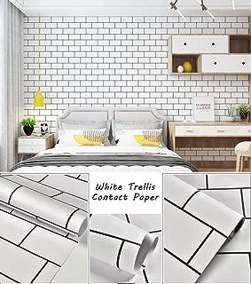 "White Brick Wallpaper White Trellis Contact Paper Decorative Wallpaper Peel and Stick Wallpaper Self Adhesive Wallpaper Removable Wallpaper Brick Waterproof Subway Tile for Wall 17.7""×78.7"" Vinyl"