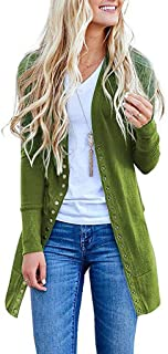 Autumn Women's Solid Color Button Down Long-Sleeved Cardigan Loose Knit Jacket Coat