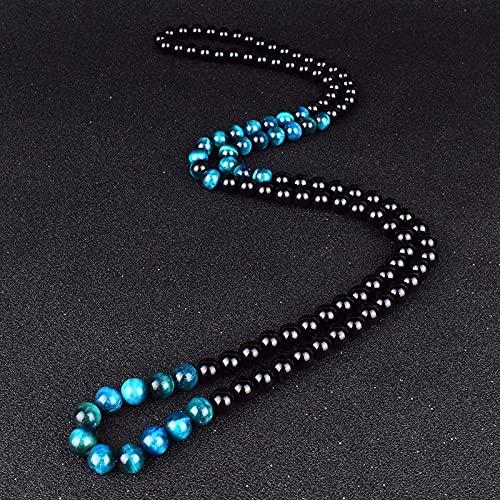 LVYAN Moda Lago Azul Ojo de Tigre Collares de Piedra Hombres ónix Natural obsidiana meditación Collar Mujeres Yoga oración joyería Hecha a Mano