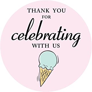 MAGJUCHE Ice Cream Thank You Stickers, Ice Cream Themed Party Sticker Labels for Favors, Decorations, 2 Inch Round, 40-Pack