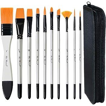 MAMUNU - Juego de pinceles de pintura con estuche de transporte, 10 brochas de arte para pintura acrílica, aceite, acuarela y gouache: Amazon.es: Hogar