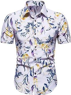 Camisa de Vestir Hawaiana para Hombre de algodón Puro de Verano de Manga Corta Estampada Suelta de Gran tamaño Hawaii Flow...