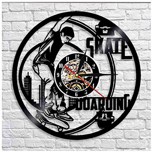 YUN Clock Skateboard Wanduhr Aus Vinyl Schallplattenuhr 3D Familien Dekoration Upcycling Design-Uhr Wohnzimmer Schlafzimmer Restaurant Wand-Deko Ø: 30 cm