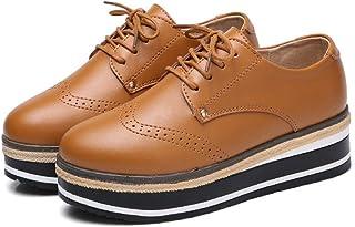 [WOOYOO] レースアップシューズ 厚底靴 レディース ウィングチップ スニーカー ローカット 美脚 カジュアル 防滑 オックスフォード 通勤 マニッシュシューズ 歩きやすい 短靴 軽量 かわいい 黒