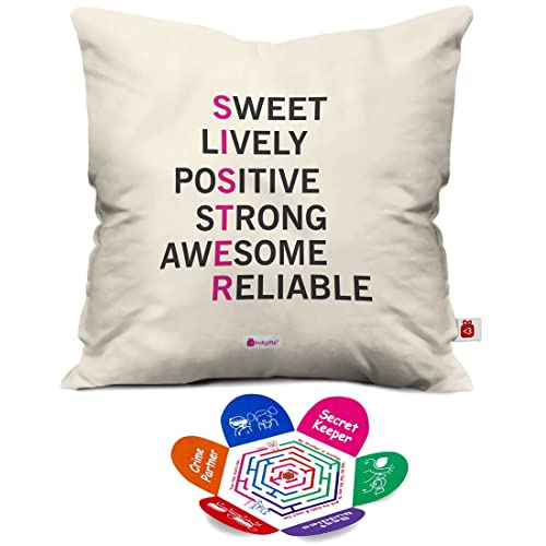 Indigifts Indibni Meaning Of Sister Quote Printed Micro Satin Fiber Cushion Cover With Filler White