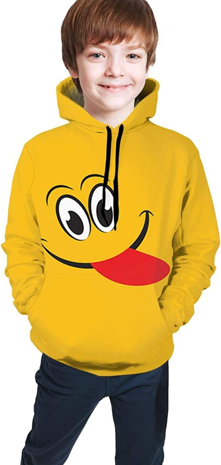 Smile Emotion Unisex Children's Hoodies Sweaters 3D Printed Pullover Clothes with Pocket For Teen Boys and Girls Black