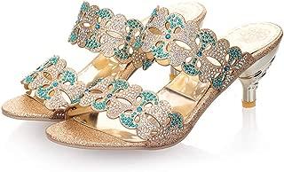 jingxlkd 31 – 43 Slip On Pantuflas Mujer Hermosos Cristales Delgados Tacones Altos Zapatos de Mujer