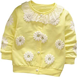 KONFA Toddler Baby Girls Solid Chrysanthemum Button Shirt Blouse,For 0-3 Years Old,Causal Tops Warm Clothes