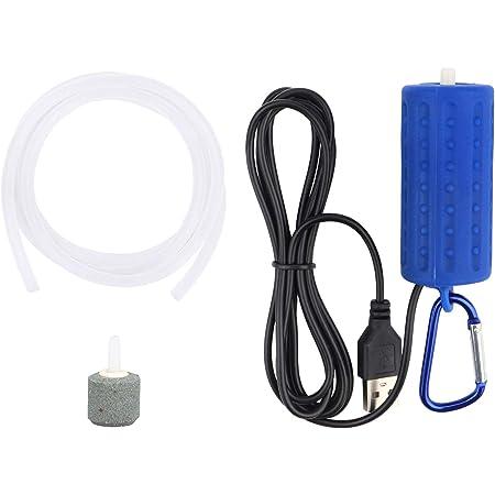 5V USB Mini Aquarium Air Pump for Aquarium, Fish Tank, Fishing, Portable Oxygen Air Pump with Air Stone and Silicone Tube - Dark Blue