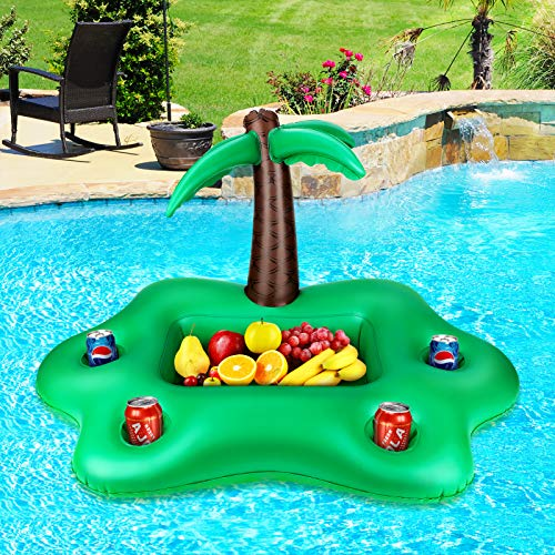 LINGSFIRE Floating Drink Holder, Inflatable Coconut Tree Pool Drink Holder Floats Large Capacity Pool Floating Cooler with 4 Holes and Square Plate...