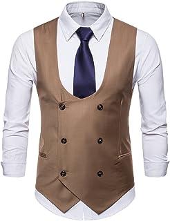 AIEOE Men/'s Suit Vest Double Breasted V-Neck Waistcoat Slim Fit Business Wedding Formal Dress Vests