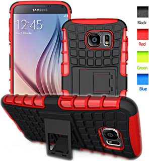 BELLETAS S6 case,Galaxy S6 Case,S6 2 in 1 Plastic and TPU Hybrid Rubber Strong Hard Back Heavy Duty Shockproof Protective Armor Cover Phone Case with Stand for Samsung Galaxy S 6 - Red