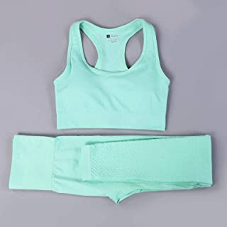 Women Vital Seamless Yoga Set Fitness Clothing High Waist Gym Leggings+ Padded Push Up Sports Bra Running Sportswear Track...