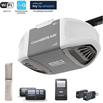 1//2 HP Multi-Function Wall Control Panel Chamberlain PD612EV Garage Door Opener Includes 2-3 Button Remotes Durable Chain Drive Operation Keyless Entry Keypad MyQ Smartphone Control Enabled Internet Gateway Sold Separately