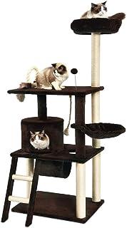 Amazon Basics - Albero per gatti a livelli multipli, con tunnel e piattaforma, 61 x 152,4 x 48,26 cm, marrone scuro