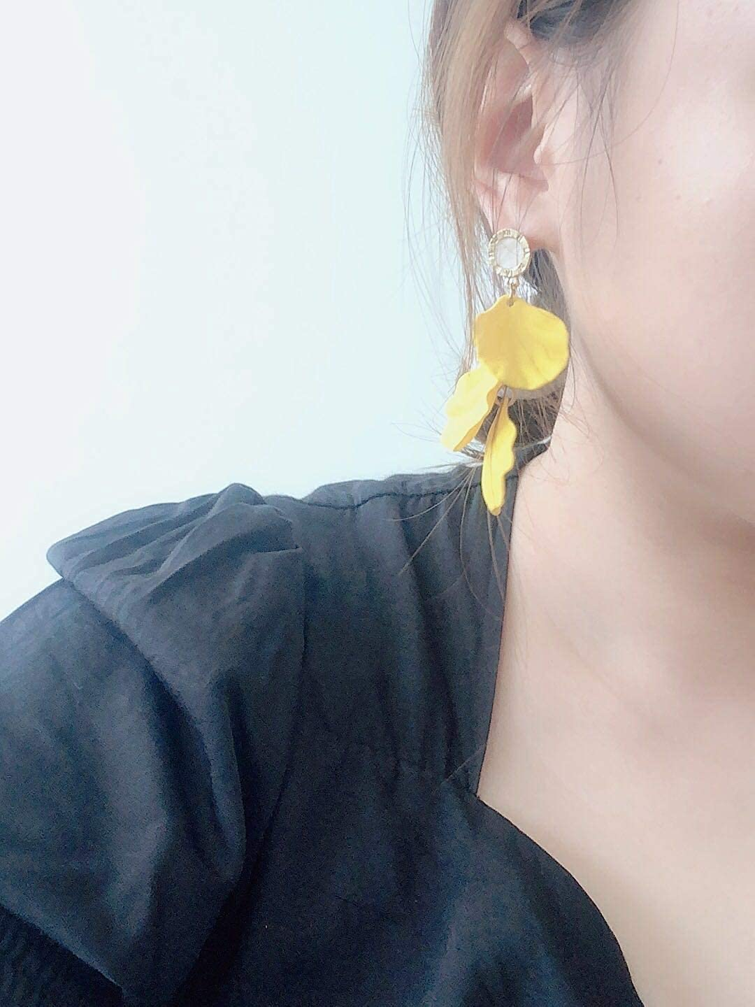 Glitziest Women's Long Rose Petal Dangle Earrings Fashion Boho Acrylic Flower Earrings - Large Statement Resin Floral Earrings for Lady, Bridal, Great for Pageant, Prom, Gifts, Yellow
