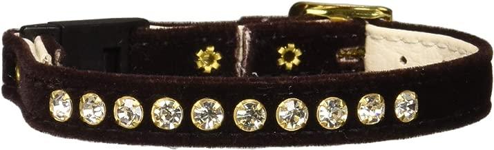"OmniPet Velvet Rhinestone BreakawayCat Collar, Brown, 10"""