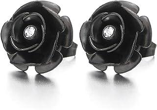 Nero Rosa Fiore Orecchini con Zirconi da Donna Ragazze, Orecchini a Lobo, Acciaio Inossidabile