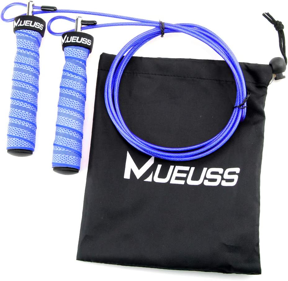 Fast Unbreakable Jumping Ropes with Carrying Pouch MUEUSS Jump Rope Boxing Great for Crossfit Training and MMA Workouts
