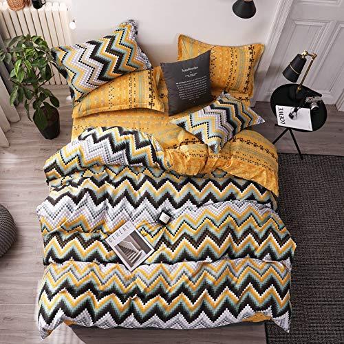 LAMEJOR Duvet Cover Set Twin Size Boho Style Chevron Striped Pattern Design Reversible Luxury Soft Bedding Set Comforter Cover(1 Duvet Cover+2 Pillowcases) Yellow