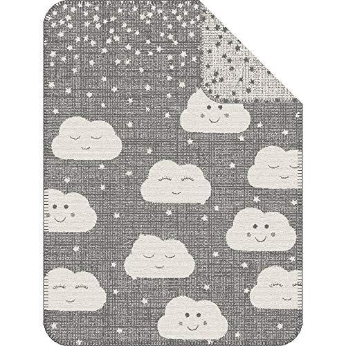 s.Oliver Kuscheldecke Wolke 075x100 cm - Babydecke grau wollweiß, hoher Baumwollanteil kuschelig weich und angenehm warm