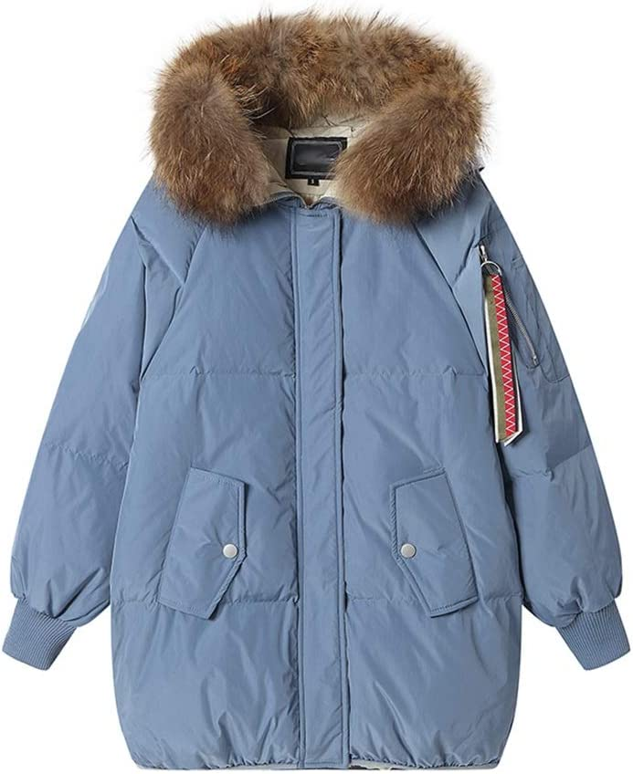 Women Winter Thickened Down Coat with Removable Faux Fur Short Down Winter Jacket Parka Solid Thicken (Color : Blue, Size : X-Small)