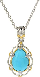 Palladium Silver Pear Shaped Kingman Turquoise Pendant