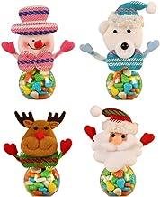 STOBOK Christmas Candy Jar Food Storage Container Elk & Santa & Snowman Candy Jar Gift Bottle Xmas Decor Desktop Ornament ...