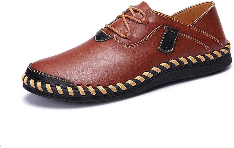 Y-H Men's shoes, Summerm New Men Soft Casual shoes,comfortable Leather Peas shoes, Lace Up Formal Business shoes Formal Business Work