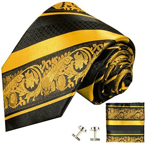 Cravate or noir rayée ensemble de cravate 3 Pièces ( 100% Soie Cravate + Mouchoir + Boutons de manchette )