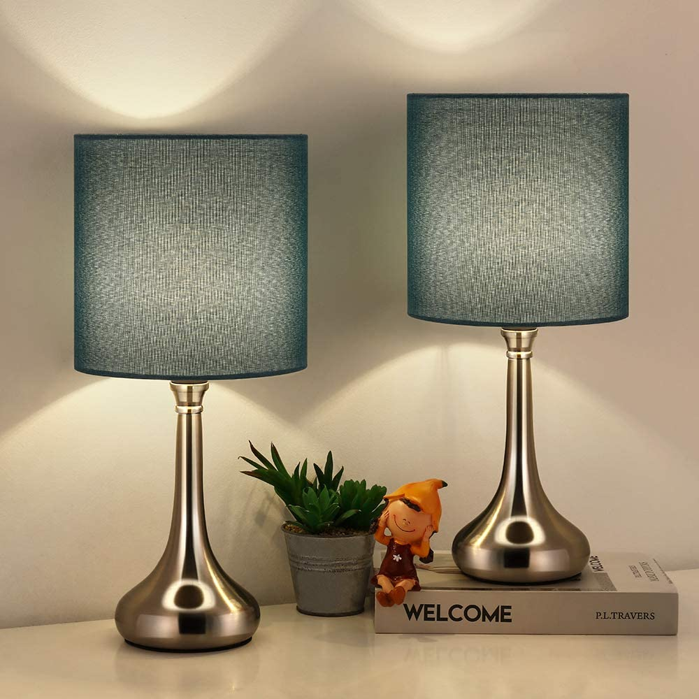 Bedside Table Lamps Set of 11 Modern Classic Nightstand Desk Lamp Small  Table Light with Blue Fabric Shade and Silver Metal Base for Living Room  Office